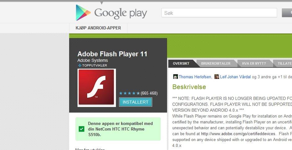 Flash takker i dag for seg på mobiler.