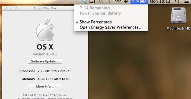 OS X gir trolig litt bedre batterilevetid, men neppe 50 prosent mer. Trolig er feilen en kombinasjon av feil kalkulasjon i OSet, og kanskje en feil med strømsparingsfunksjonene.