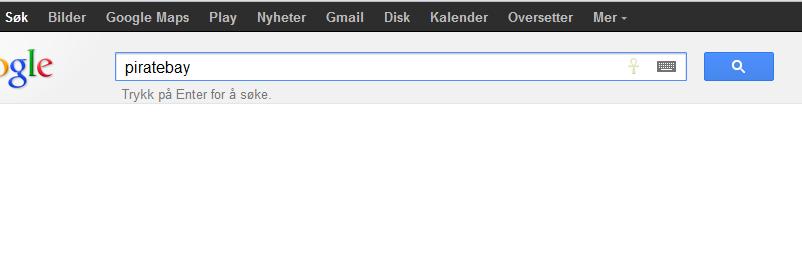 Google har stoppet autofullføring av TPB-domene.