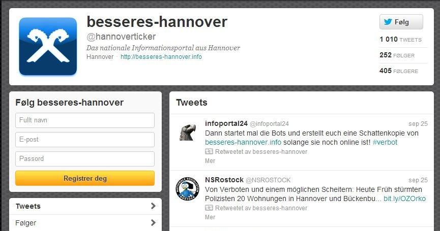 Denne kontoen ble for drøy kost for tysk politi. Dermed ble den fjernet fra Twitter i Tyskland.