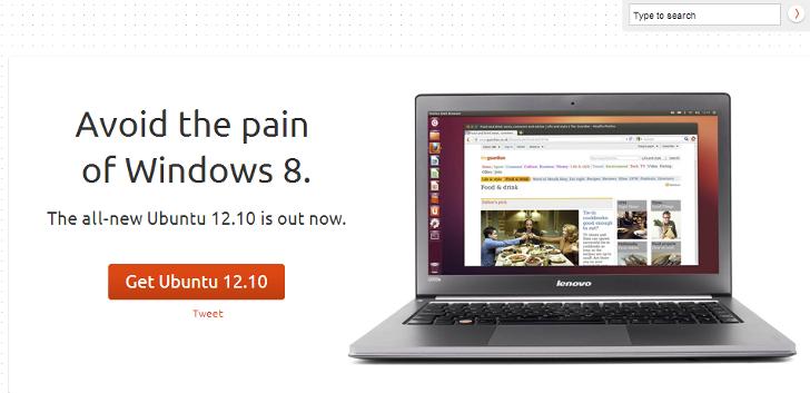 - Au, Windows 8 gjør så vondt. Det mener i hvert fall Canonical som har lansert versjon 12.10 av sin Ubuntu-distro med web-apps, finpusset grensesnitt og søk.