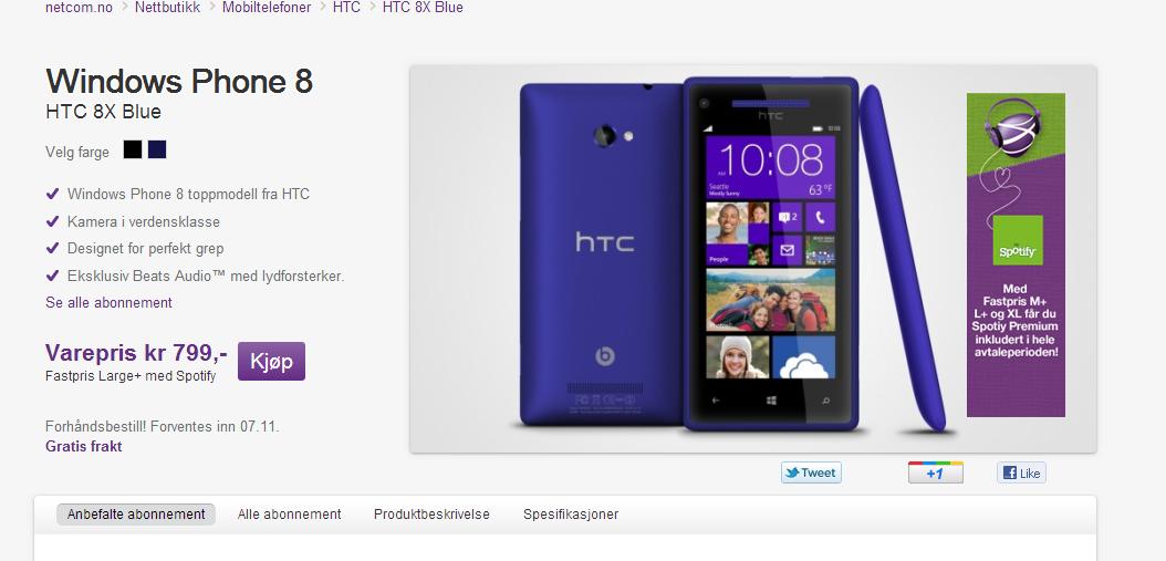 NetCom er tidlig ute med Windows Phone 8. 8X er første modell fra HTC.
