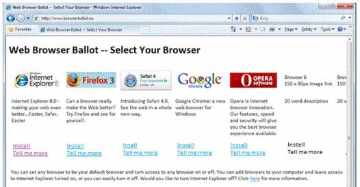 Microsofts nettleservalg i IE.