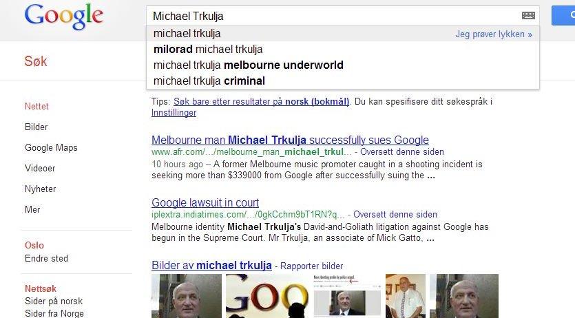 Michael Trkulja figurerer stadig i kriminelt selskap på Google. Han glemte nemlig å saksøke dem for tekst-resultater...