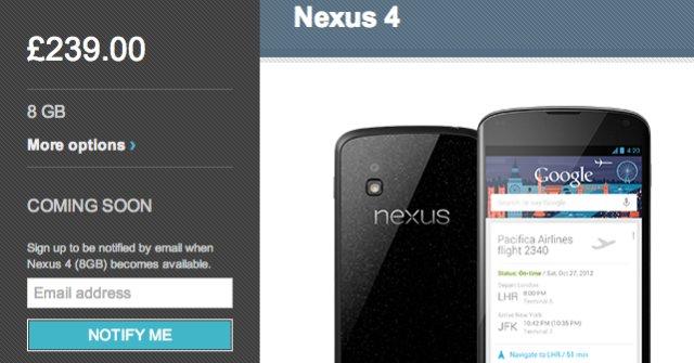 Nexus 4 ble fort utsolgt på nett.