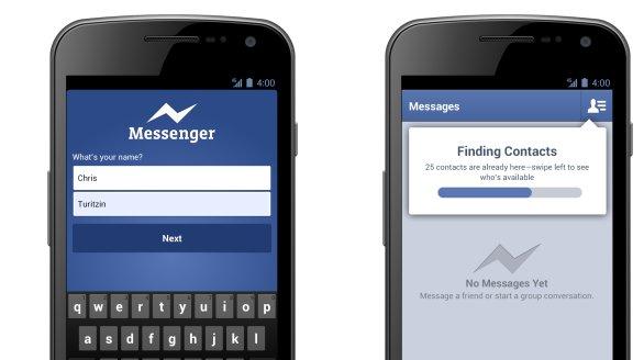 Facebooks nye Android Messenger lar deg opprette en konto med navn og telefonnummer. Facebook-konto er ikke nødvendig.