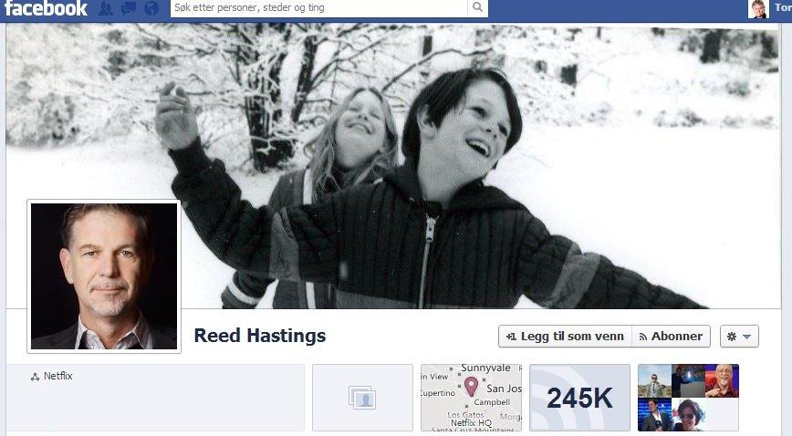 Slik ser Netflix-sjefen Reed Hastings Facebook-side ut. Her finner han det for godt å legge ut det SEC mener er børskritisk informasjon.