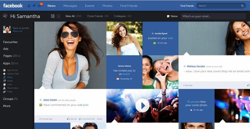 Facebook ser kjedelig og uinspirert ut når man sammenligner med Fred Nerbys design.