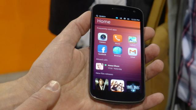 Hjemskjermen til Ubuntus mobil-OS.