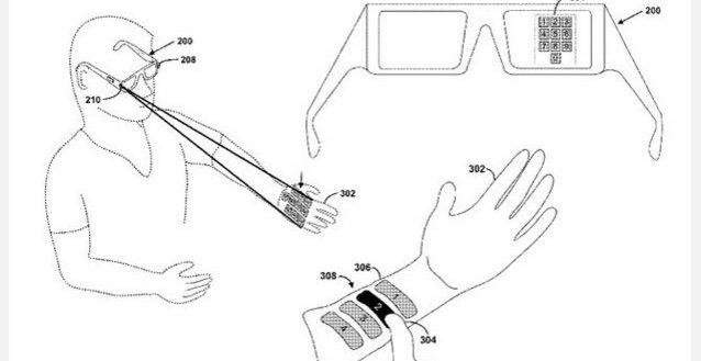 Tegnignene som Google har levert sammen med patentsøknaden viser at elektroniske sensorer på armen har forbindelse med brillene.