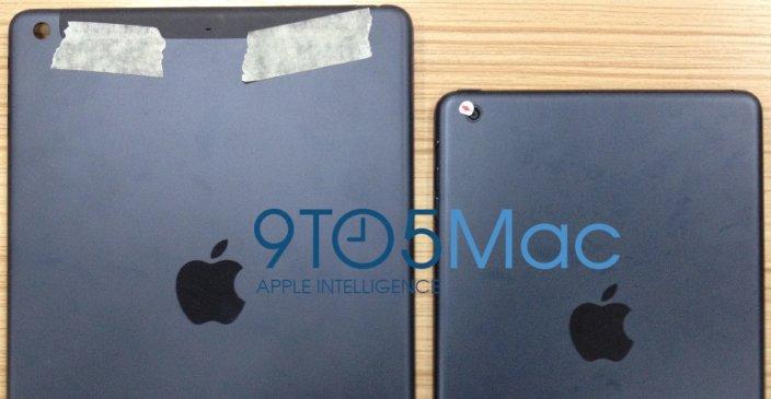 Lei aluminiumsfarge? Til høyre er trolig iPad 5 med det nye iPad mini designspråket.