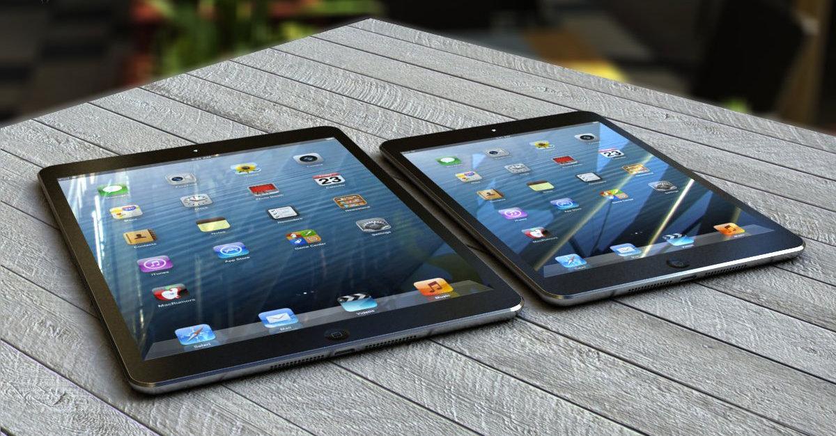 iPad 5-konsept til venstre med designet som iPad mini-introduserte.