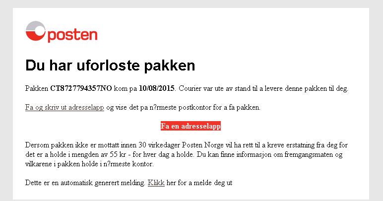 Denne er ikke fra Posten Norge.